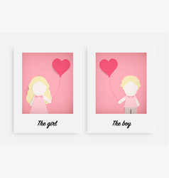 cute girl and boy hold pink balloon vector image