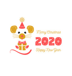 cute rat and date 2020 year christmas card vector image