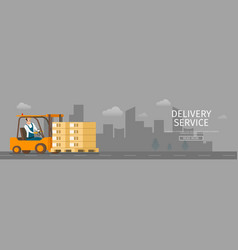 Delivery human-driven forklift car with package vector