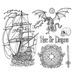 Design set with old sailing ship dragon vector