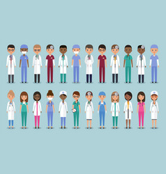doctors in flat design animated medical vector image