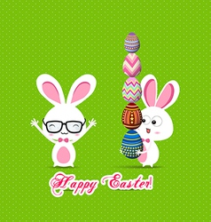 Easter bunny with eggs vector