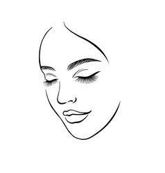 Face a beautiful young woman line art 2 vector