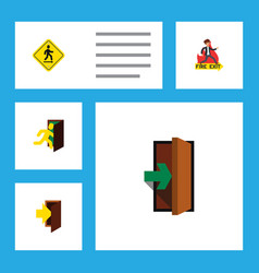 flat icon exit set of entry direction pointer vector image