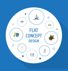 Flat icons conch sailboard car and other vector