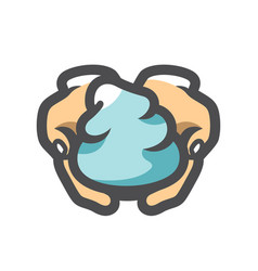 Foam on hand icon cartoon vector