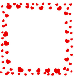 frame of red hearts on valentines day vector image