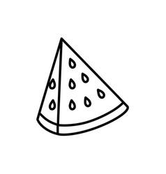 fresh fruit slice watermelon icon on white vector image