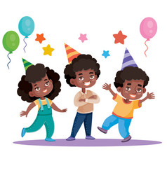 Funny children celebrate happy holiday with vector