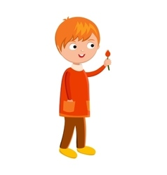 Funny cute boy with flower vector