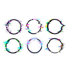 glitch circle frame effect circle glitch vector image