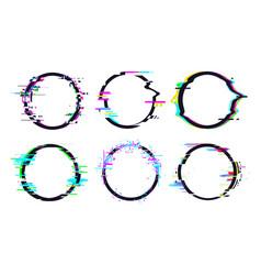 glitch circle frame effect circle glitch vector image