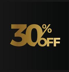 Golden 30 percent off flat cartoon style vector