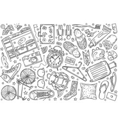 daca039d62 Hand drawn hostel set doodle background vector ...