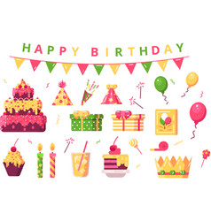 happy birthday symbols set vector image
