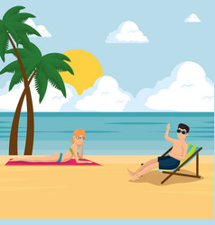 happy couple of lovers sunbathe on the beach vector image