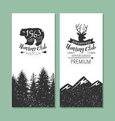 hunting club logo templates set forest camping vector image