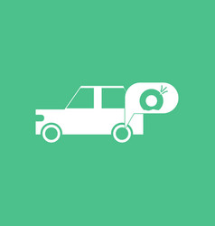 Icon car and punctured tire vector