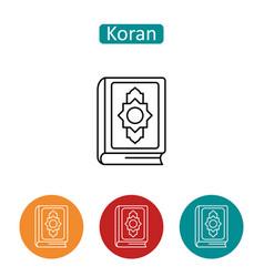 Koran book outline icons set vector