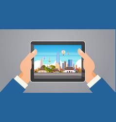 korea travel landmarks hands holding digital vector image