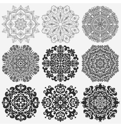 Lace doily mandala round ornament vector