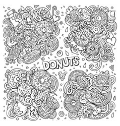 line art hand drawn doodles cartoon set vector image