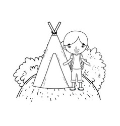 Little tourist boy with teepee vector
