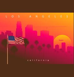 Los angeles evening skyline california usa vector