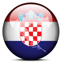 Map on flag button of Republic of Croatia vector image