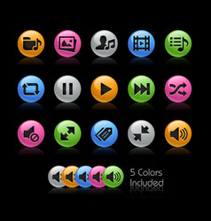 media player icons - gelcolor series vector image