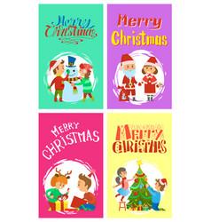 merry christmas holidays children building snowman vector image