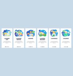 Mobile app onboarding screens online laundry vector