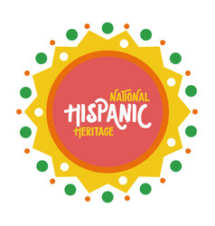 National hispanic heritage lettering in lace flat vector