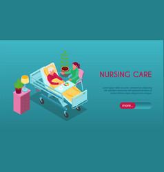 Nursing home isometric banner vector