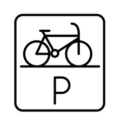 Parking bicycle road sign transport line style vector