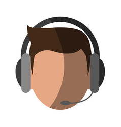 Person with headset customer service or call vector