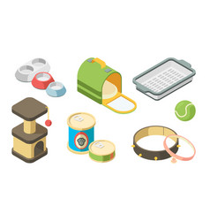 pet shop isometric toys brushes for grooming vector image