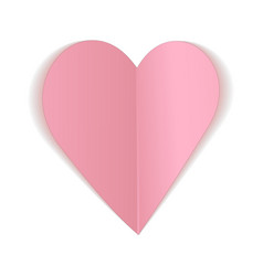 Pink paper heart bent icon vector