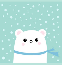 Polar white little small bear cub wearing scarf vector