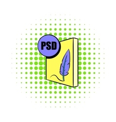 PSD file icon in comics style vector