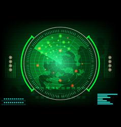 Radar screen digital interface with world map vector