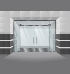 Realistic facade of shopping mall with glass doors vector