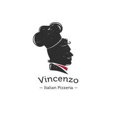 Retro logo for italian restaurant cook vector