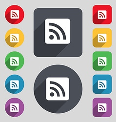 RSS feed icon sign A set of 12 colored buttons and vector