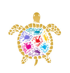 sea turtle with colored blots on the shell vector image