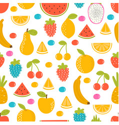 seamless pattern with cartoon hand drawn fruit vector image