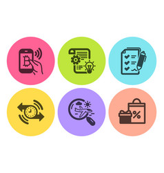 Search flight cogwheel and bitcoin pay icons set vector
