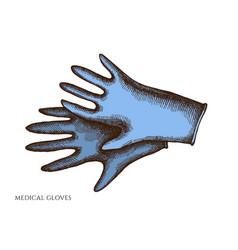set hand drawn colored medical gloves vector image