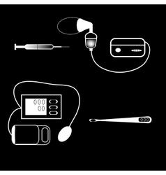 Set medical devices syringe thermometer inhaler vector