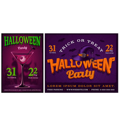 set of halloween party posters vector image